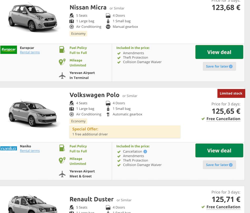 car rental abroad at a discount