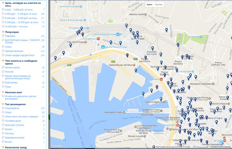карта отелей букинг