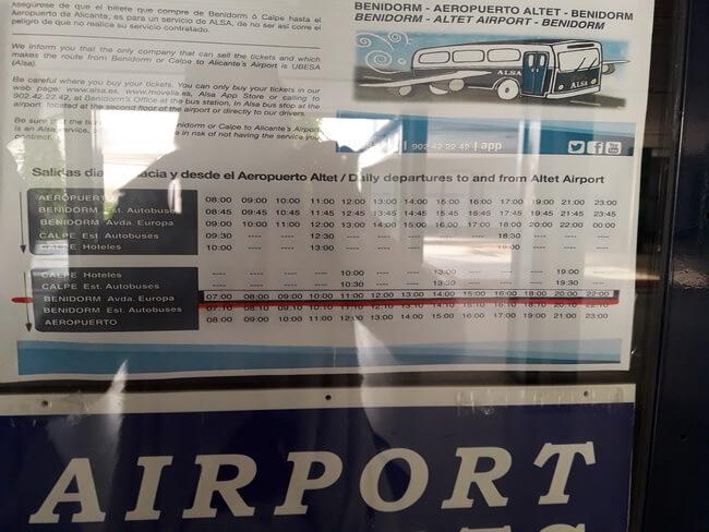 автобус бенидорм аэропорт расписание