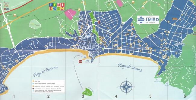 карта бенидорма с остановками и отелями