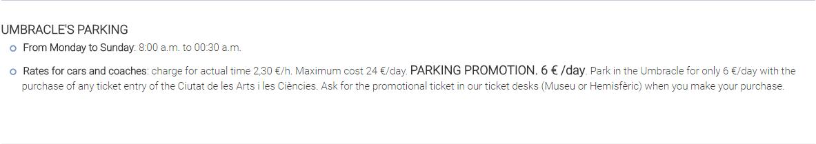 цены на паркинг в городе искусств и наук