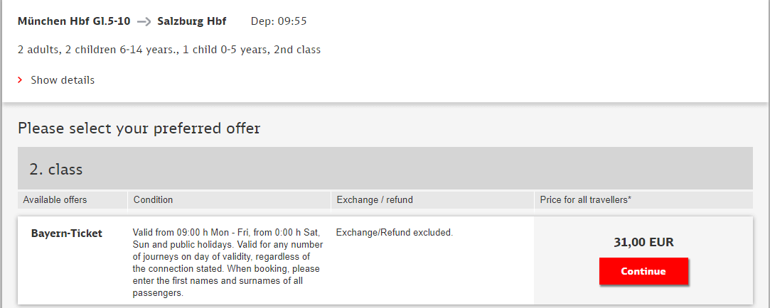 семейный баварский билет