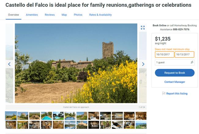 арендовать замок в италии