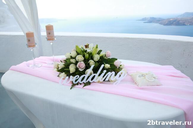 розовая свадьба на санторини