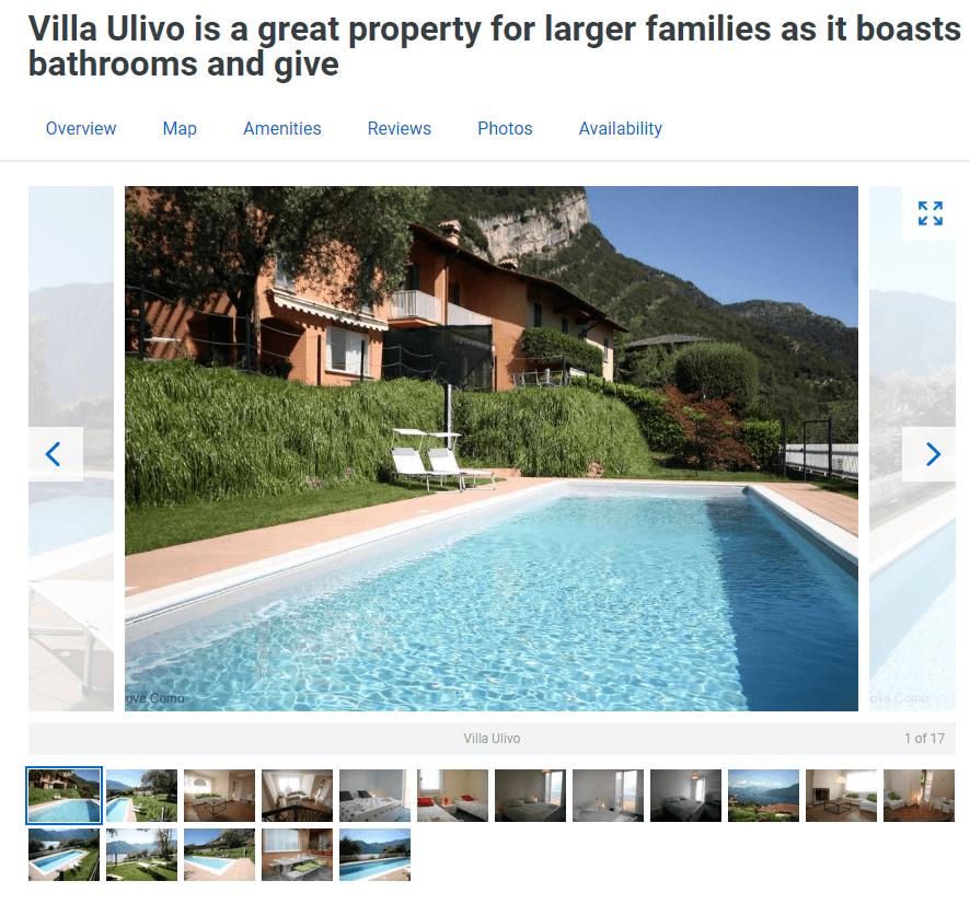 villa ulivo на озере комо