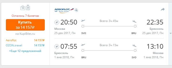 билеты в бельгие из москвы на новый год