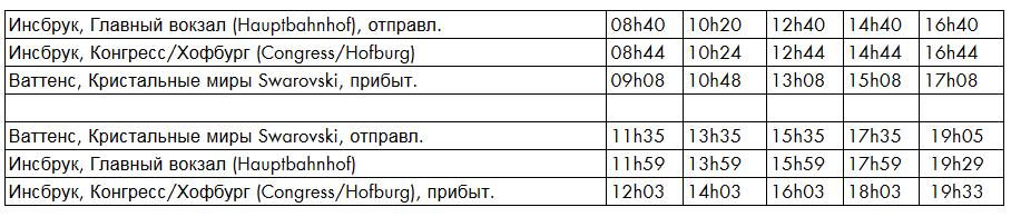 автобус в музей сваровски расписание