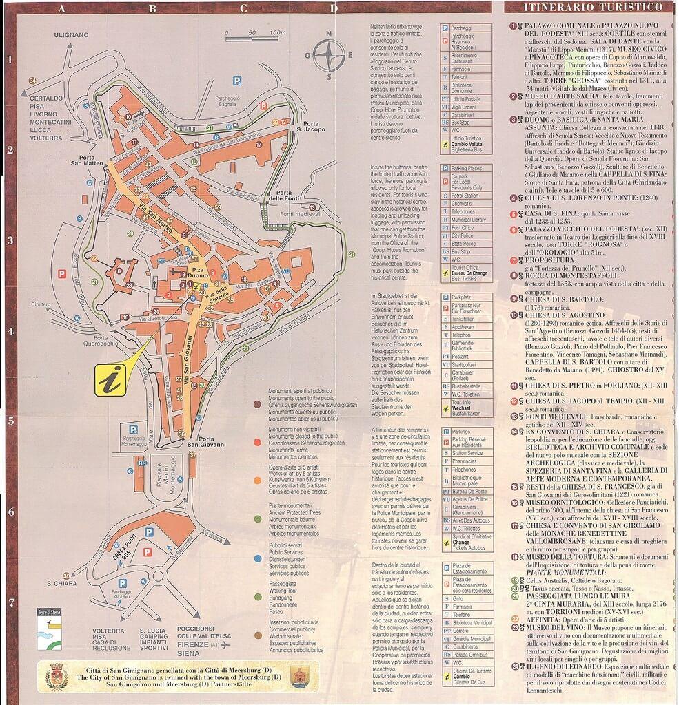 карта сан джиминьяно с достопримечательностями