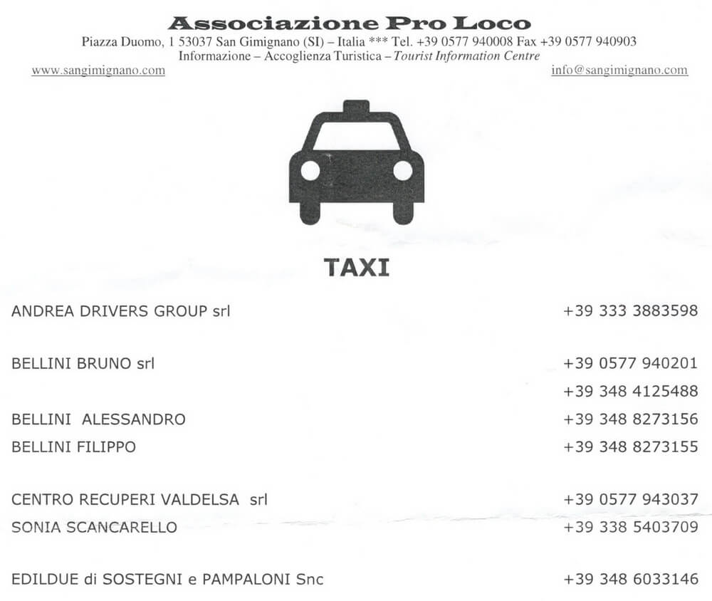 такси в сан джиминьяно