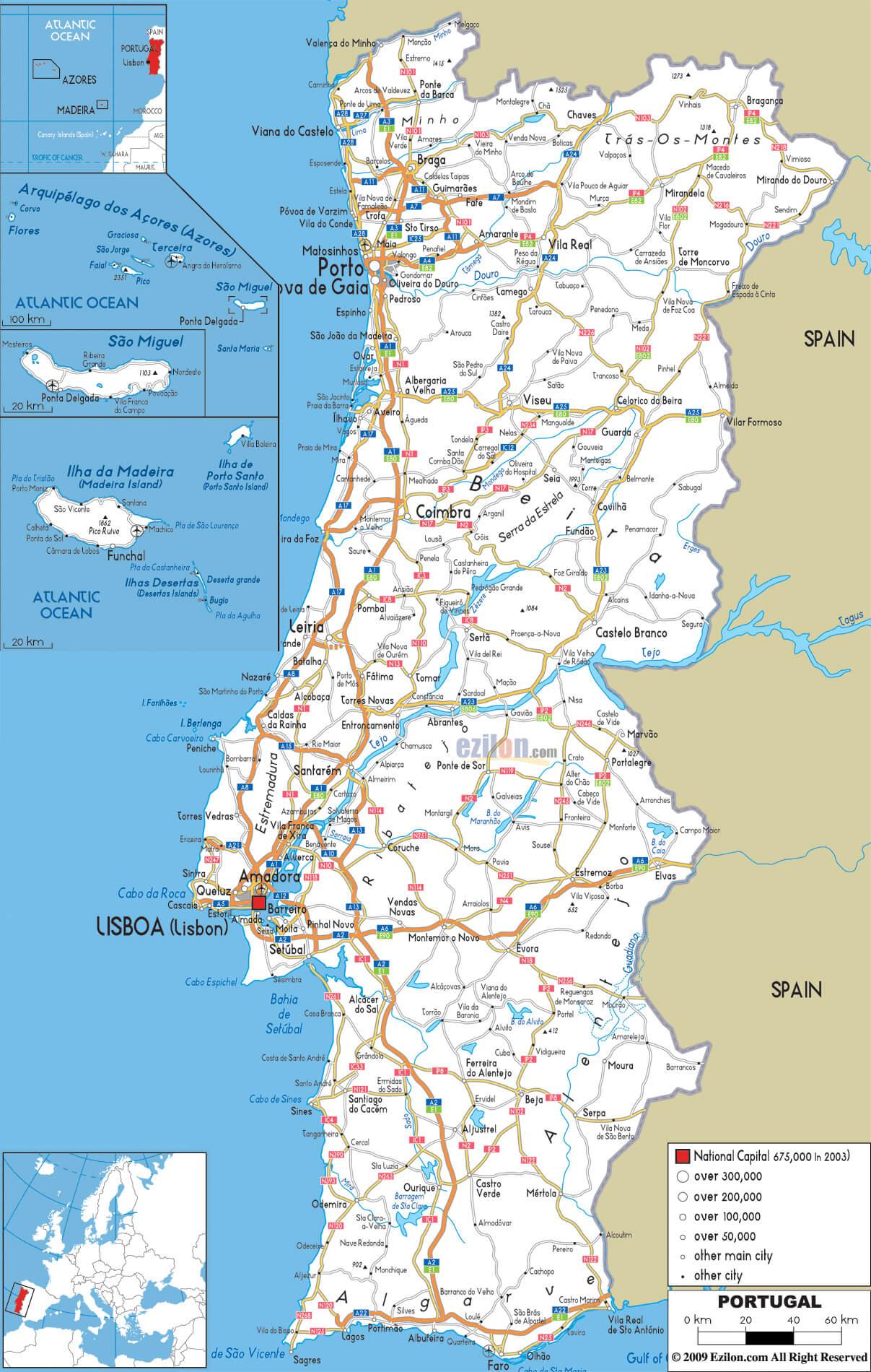 карта автомобильных дорог португалии