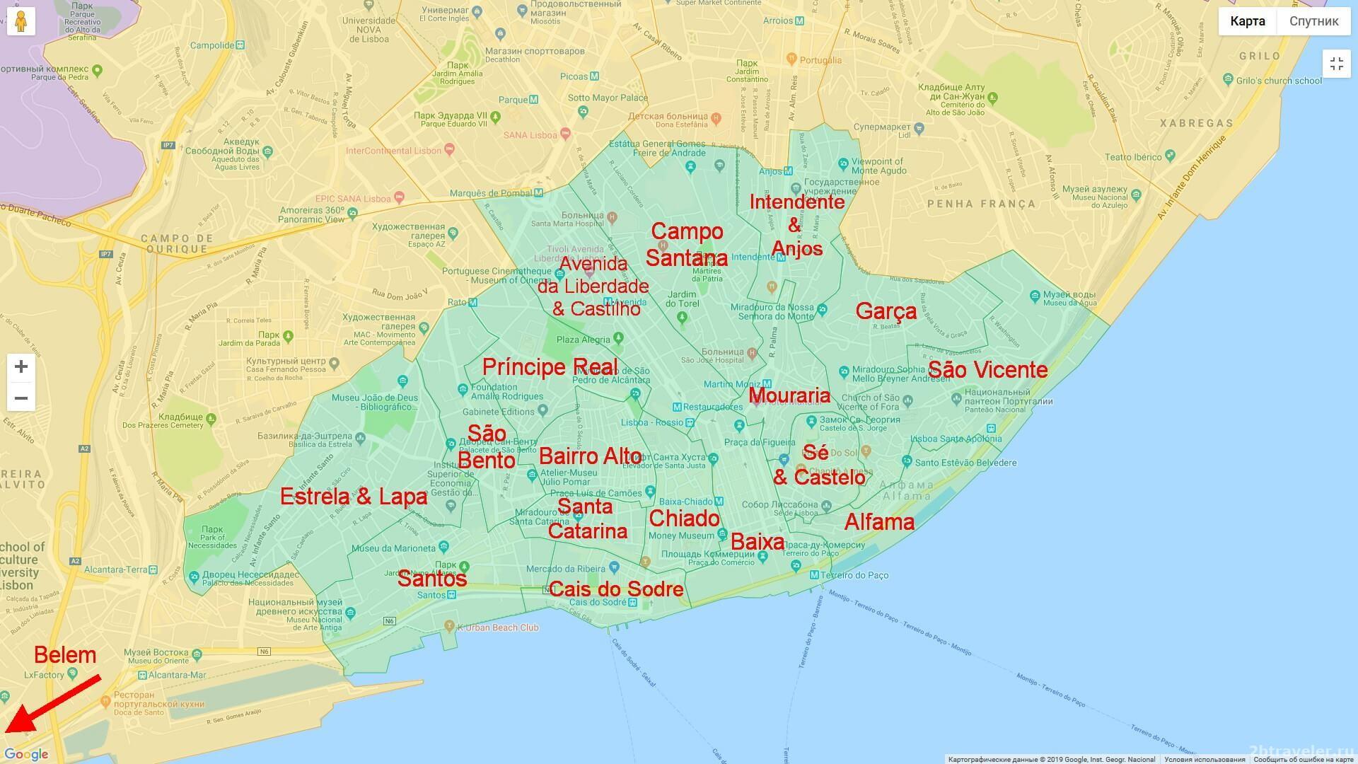 карта лиссабона с районами