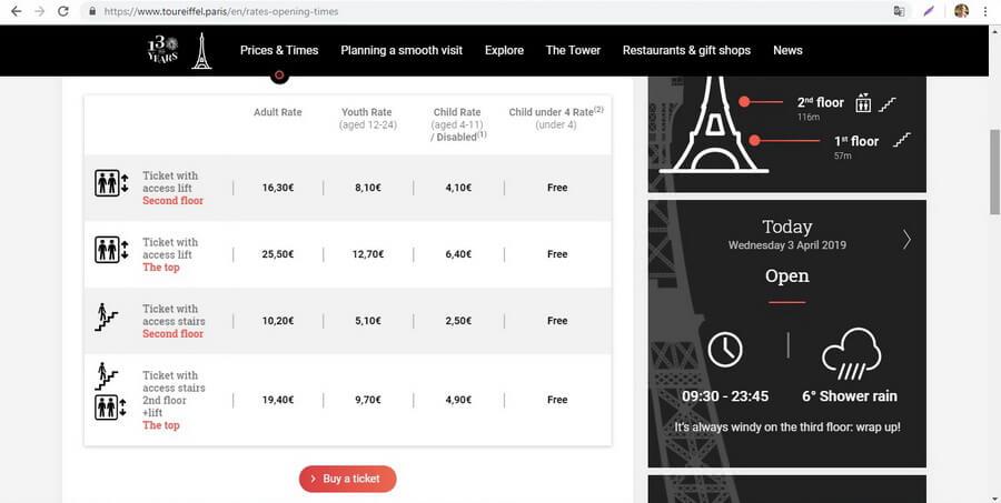 билеты эйфелева башня официальный сайт