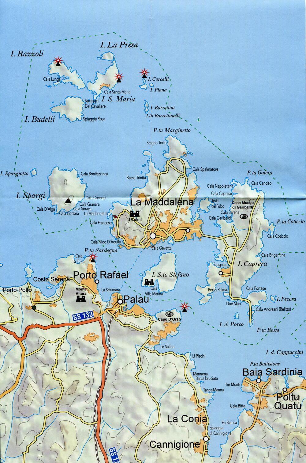 сардиния достопримечательности на карте