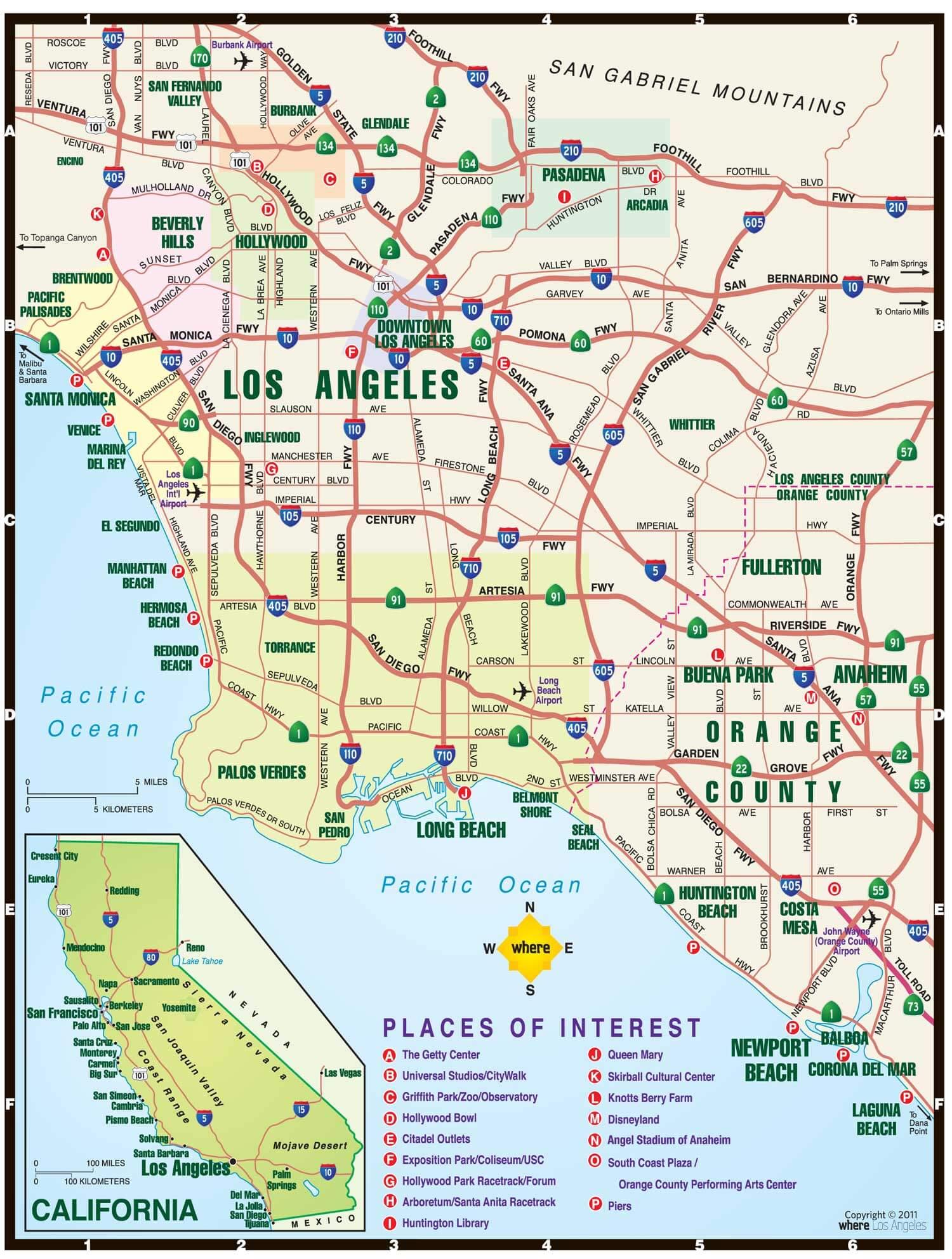 районы лос анджелеса на карте