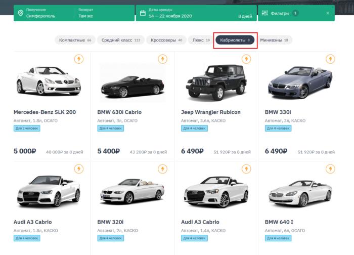 аренда авто в крыму 2021 цены